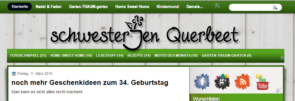 Screenshot alter Blog Schwesterjen Querbeet
